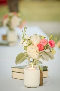 Pretty-Vintage-Rustic-Centerpiece So cute and not too tall to obstruct the views of people sitting across from each other!!