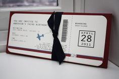 DIY - Airplane Ticket Invitations | Pinterest | Ticket invitation ...