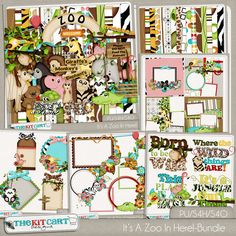 It's A Zoo In Here!-Digital Scrapbook Bundle. Includes the Kit, Quick Pages, Word Art, Cluster Frames and Tags!