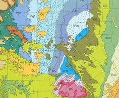 Learn to Read a Geologic Map: Geologic Map ColorsYou could have a geologic map without using colors, just lines and letter symbols in black and white. But it would be user-unfriendly, like a paint-by-numbers drawing without the paint. But what colors to use for the various ages of rocks? There are two traditions that arose in the late 1800s, the harmonious American standard and the more arbitrary International standard.