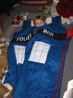 TARDIS sleeping bag. Totally awesome. I definitely need to locate one to purchase asap!