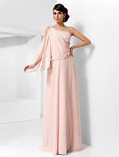 A-line One Shoulder Floor-length Chiffon Evening/Prom Dress – USD $ 199.99