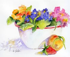 watercolor painting of a peach and strawberry