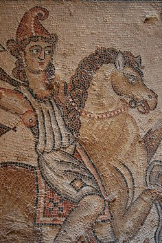 The symbol of the Supreme Being was fire (Sun) and the Sun God was called Mithras who represented all that was good in mankind. Goddess Warrior, Mosaic Art, Prehistoric, Fresco, Roman Mosaics, Vintage World Maps, Amazons, History, Supreme