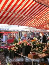 striped canopies and awnings - outdoor market
