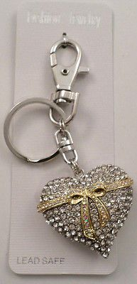Rhinestone Bling Silver & Gold Heart Wrapped with a Bow Key Chain Purse Fob Char Rhinestone Bow, Heart Of Gold, Bowie, Key Rings, Key Chain, Bling, Purses, Personalized Items, Keys