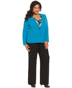 Tahari by ASL Plus Size Suit, Jacket, Pants & Printed Shell
