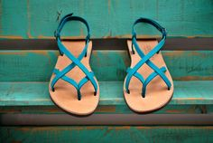Leather Sandals Athena.  The leather sandals on photos have been exposed at light.The new sandals will have this colour after a few days of use.