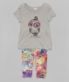 Look at this Neon by SaraSara Heather Gray Owl Tee & Capri Leggings - Toddler & Girls on #zulily today!