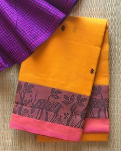 "38 Likes, 14 Comments - Virupa -The Saree Store (@studiovirupa) on Instagram: ""**S O L D** CHETTINAD COTTON- Unique Deer  Border In Mango yellow with Small floral Buttis All…"""