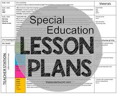 The Bender Bunch: Special Education Lesson Plans