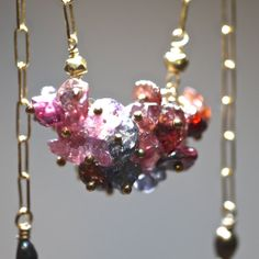 Sparkling Spinel Chip Cluster Necklace on Gold Chain by AUREATA, $85.00