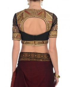 Maroon Vintage Panelled Blouse Saree
