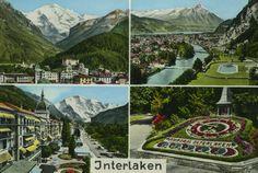 Vintage re-colorized postcard of Interlaken, Switzerland.