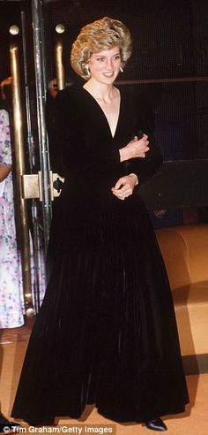 The Bruce Oldfield black velvet evening gown that Princess Diana wore at the gala opening of Les Miserables at the Barbican centre in 1985.