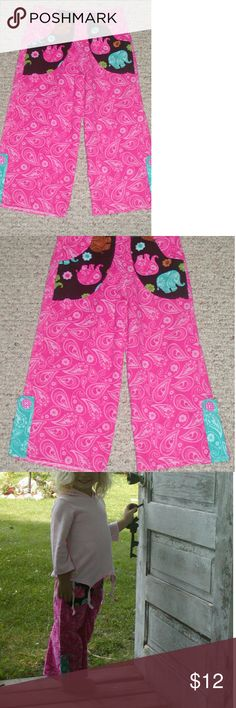 Handmade pink corduroy pants for little girl Handmade pink corduroy pants pockets Elephant Print and Turco tabs at hemline pink polka dotted buttons handmade Bottoms Casual
