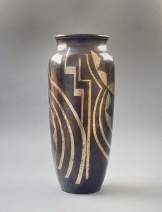 Rare Fernand Grange Art Deco Dinanderie Vase Circa 1930