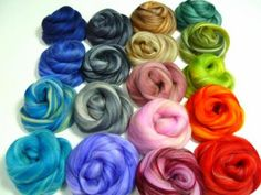 SALE Varigated Felters Palette superfine merino by DivinityFibers, $21.00.  Ok, so this is one of my fave suppliers of anything crafty. She has a TON of roving, wool products, felting materials, perfect for felting, crafting, and so inexpensive! She sells individual colors, & color combo packs. Plus, she works with a women's org in India to give fair wages to women... great cause! Also has a shop for silk sari ribbon skeins in a huge selection of colors. ;)