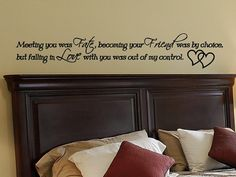 Master Bedroom Wall Decal Decor Love Quotes Art Vinyl Lettering Decorations Removable Quote Meeting You Was Fate