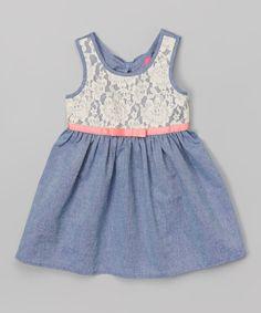 Look at this #zulilyfind! Chambray Lace Babydoll Dress - Girls by Zunie & Pinky #zulilyfinds