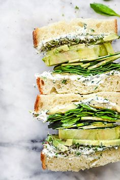 Green Goddess Cream Cheese Sandwich | http://foodiecrush.com