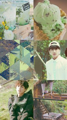 Read Montagens - 3 from the story [✰]; BTS Wallpapers by powervottom (hey, men! k-pop, bangtanboys, wallpapers. Jungkook Aesthetic, Kpop Aesthetic, Aesthetic Green, K Pop, Bts Bangtan Boy, Jimin, Seokjin, Namjoon, Bts Wallpapers