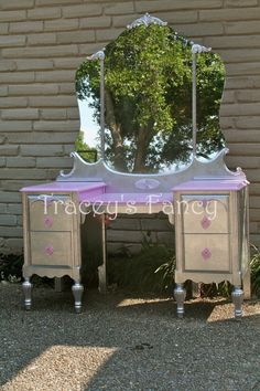 I would love to refinish my vanity like this!!   Vintage Cottage Vanity  MADE TO ORDER by TraceysFancy on Etsy, $710.00  Furniture dressing table victorian Vintage Shabby French Cottage Antique Vanity pink lavender silver leaf