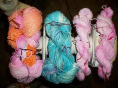 Gorgeous Hand dyed/painted yarns by HeavensRays on Etsy