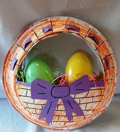 paper plate easter egg basket craft