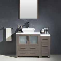 Torino 42 Single Modern Bathroom Vanity Set with Mirror with Price : $ 1399