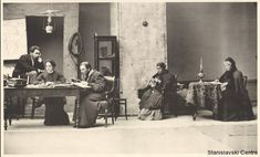 "This looks like the final scene of ""Uncle Vanya"". From the ""Stanislavski Center"" collection: Stanislavski in the role of Vanya."