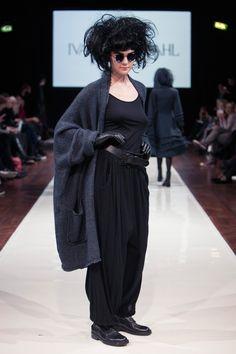 Ivan Grundahl - Copenhagen Fashion Week 2013 RTW - Oversized grey wool cardigan paired with loose black draped trousers and black t-shirt