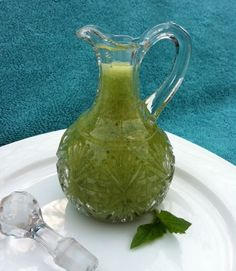 """Sweet Basil Salad Dressing. If this salad dressing could talk it would be shouting, SUMMER! SUMMER! SUMMER!........ If you ask me, this beautiful, green, vibrant vinaigrette is truly the """"essence of summer"""" for the palate."""