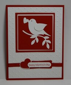 handmade Valentine ... white and red ... two-step bird with a heart in its mouth ... clean and simple ... Stampin' Up!