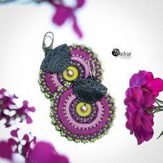 Soutache earrings with 3d printed elements.  #soutachejewelry #soutache #earrings #3dprint