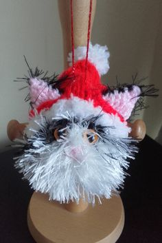 Cat Christmas tree decoration Black and white hand by Stewscraft
