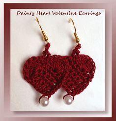 """I added """"Free Crochet Dainty Heart Valentine Earrings pat"""" to an #inlinkz linkup!http://www.crochetmemories.com/blog/dainty-heart-valentine-earrings/"""