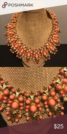 New York & Company Eva Mendes Collar Necklace New York & Company Eva Mendes Collar Necklace. Coral and gold. New with tags. New York & Company Jewelry Necklaces