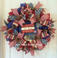 Paper Mesh Patriotic Wreath, Deco Mesh Patriotic Wreath, Americana Wreath, 4th of July Wreath, Vintage Wreath, Patriotic Wreath by DecoMeshWreathWorks on Etsy