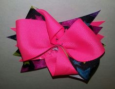Hot pink, stars hairbow