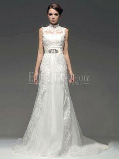 A-line Princess High Collar Chapel Train Lace Chiffon Vintage Wedding Dresses-USD$499.99