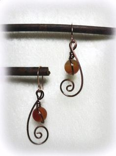Hammered Copper Wire Earrings with Fire Agate by HaastyleCreations, $20.00