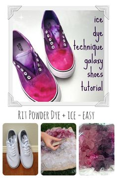 Ice Dye Galaxy Shoes My daughter loves, love the galaxy look for shoes. This is her second pair we've dyed together but this time we used the ice dyeing technique and she is hooked- so easy and so fun! Ice Tye Dye, Tye And Dye, How To Dye Shoes, How To Paint Shoes, Diy Tie Dye Shoes, Tie Dye Crafts, Neon Crafts, Powder Dye, Shoes