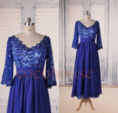 Half Sleeves Royal Blue Lace Applique Beaded Prom Dresses, Tea Length Evening Dresses, New Fashion Party Dresses, Wedding Party Dresses