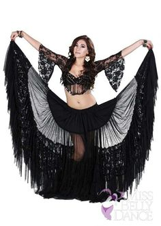 Belly Dance Tribal Lace Bra, Skirt and Net Scarf Costume Set | Roma Elegance