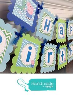 George Pig and Dinosaur/ Peppa Pig Inspired Happy Birthday Banner - Lime Green Chevron, Baby Blue Polka Dots & Royal Blue Accents - Party Packs Available from Emerald City Paperie https://www.amazon.com/dp/B01GMJH8WU/ref=hnd_sw_r_pi_dp_AQAAxbV860W7F #handmadeatamazon