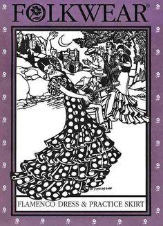 Folkwear Flamenco Dress & Practice Skirt by BonniesPatternShop, $19.95 Flamenco Skirt Pattern, Flamenco Dancers, Flamenco Costume, Dance Costumes, Dress Sewing Patterns, Skirt Sewing, Hat Patterns, Salsa Dress, Salsa Dancing