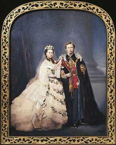 "Albert Edward & Alexandra, The Price and Princess of Wales, UK on their wedding day. The future Queen Alexandra Caroline ""Alix"" (Alexandra Caroline Marie Charlotte Louise Julia) (1844-1925) Denmark & King Edward VII (Albert Edward) (1841-1910) Prince of Wales, UK."