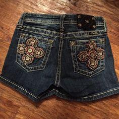 Girls Miss Me Dark Denim Shorts Dark Blue Miss Me Girls Size 14 Shorts with Embellished Pockets Miss Me Shorts