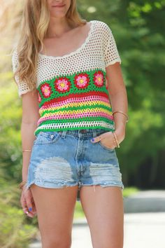 sophie and trey top, urban outfitters shorts, high waisted shorts, forever 21 he. - Crochet Clothing and Accessories Débardeurs Au Crochet, Pull Crochet, Crochet Blouse, Urban Apparel, Orlando Florida, Florida Fashion, Urban Outfitters Shorts, Cute Outfits For School, High Waisted Shorts